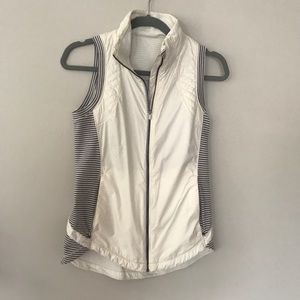 Lululemon white and grey striped vest size 6